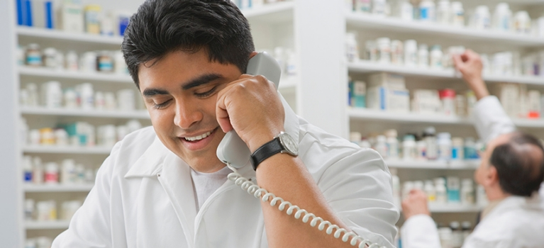 Pharmacist on phone