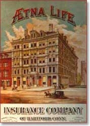 Illustration of Aetna building on magazine cover