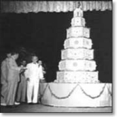 black and white picture of giant cake