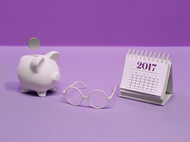 Piggy bank, glasses, calendar graphic