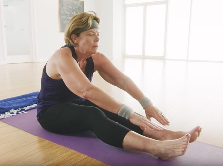 Cory doing yoga