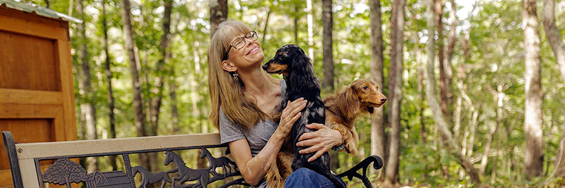 Katherine with dogs