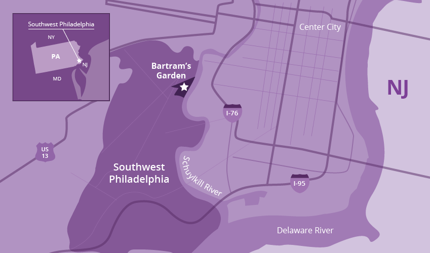 Bartrams garden on Philly Map