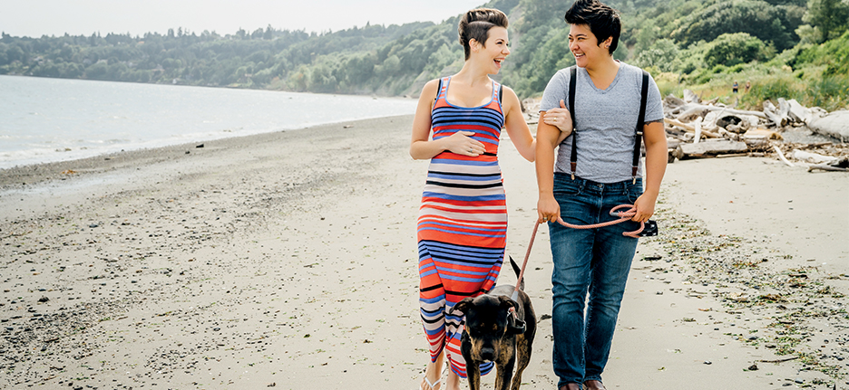 couple walking on beach with dog